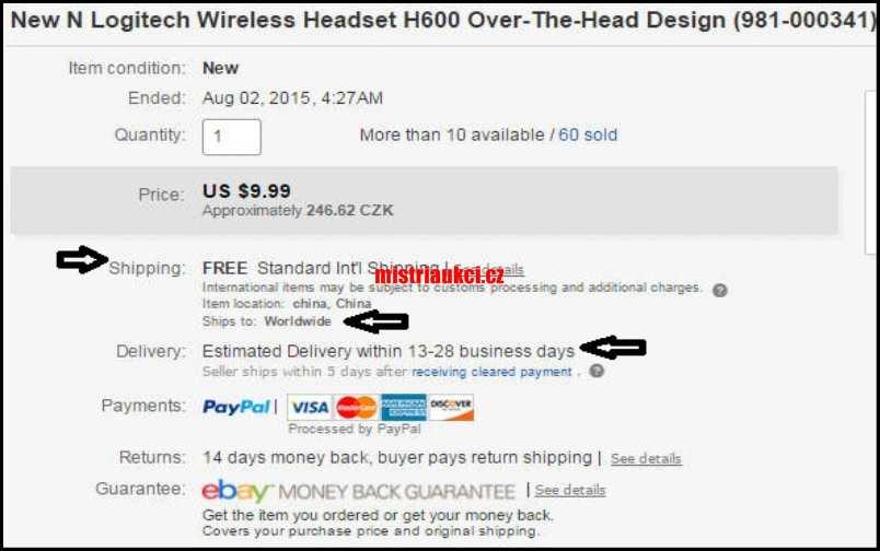 ebay výběr a způsob dopravy