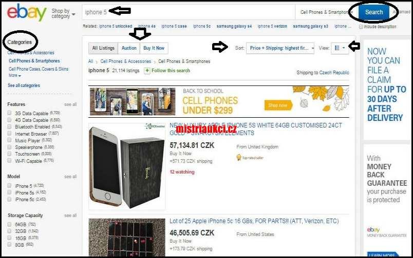 výběr zboží na Ebay