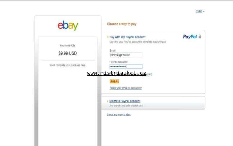 Přihlášení na Paypal