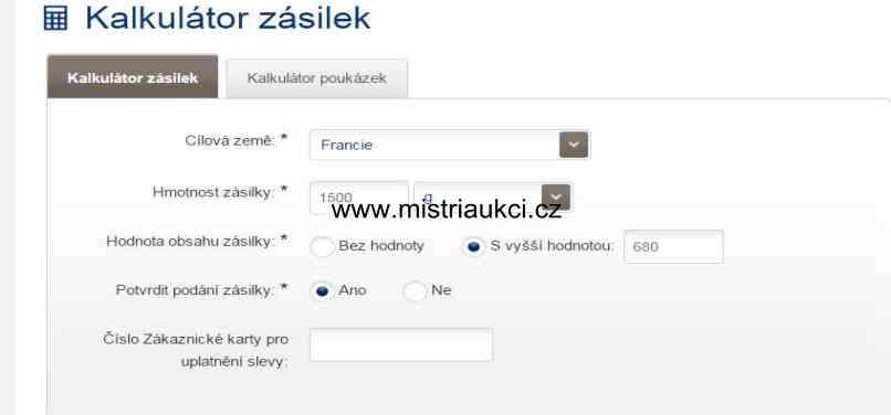 Česká pošta kalkulátor zásilek