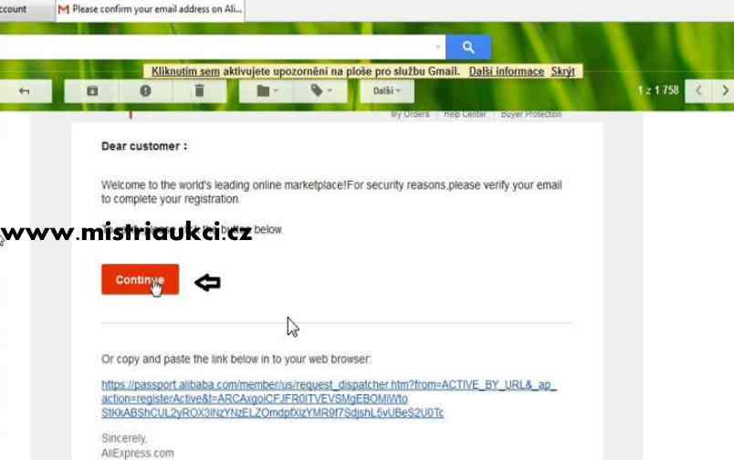 potvrzení emailu