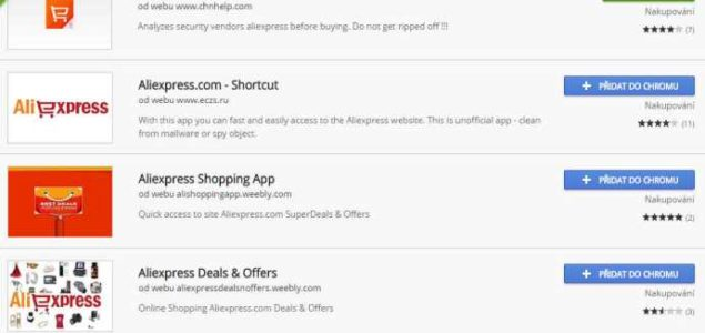Aliexpress aplikace pro Google Chrome