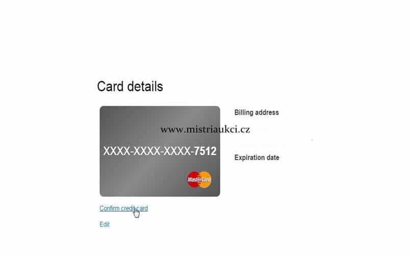 Ověřit platební kartu