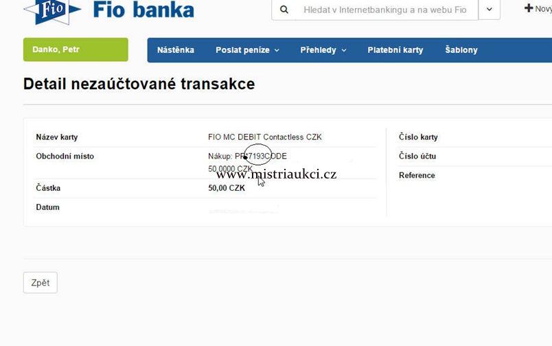 Paypal transakce u Fio banky