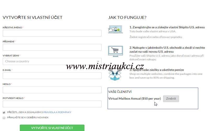registrace účtu
