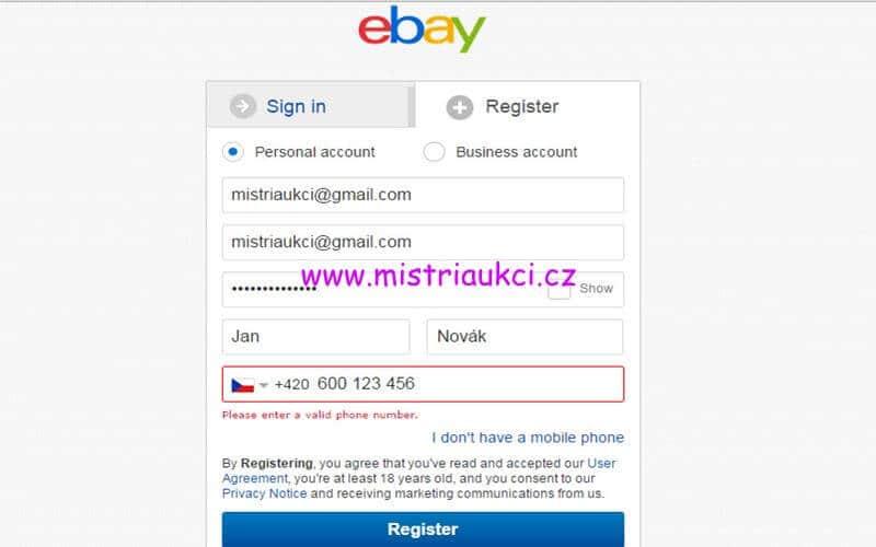 osobní účet na ebay