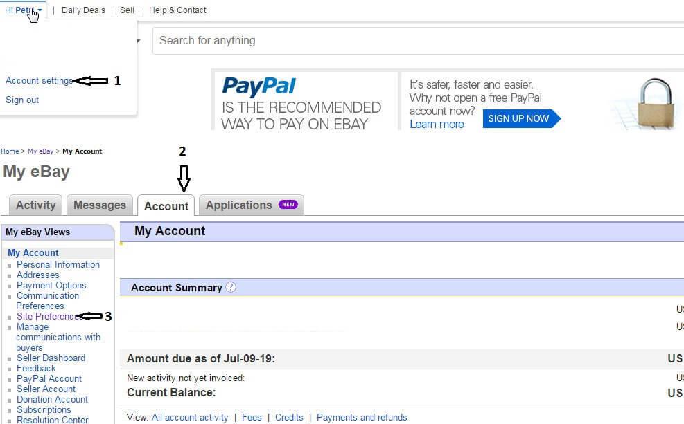 karta account-účet na Ebay